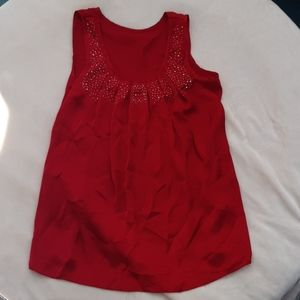 Tops - Red dress shirt womans med w/ silver embellishment